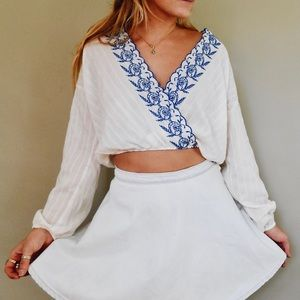 Chloe & Katie Embroidered Cropped Blouse